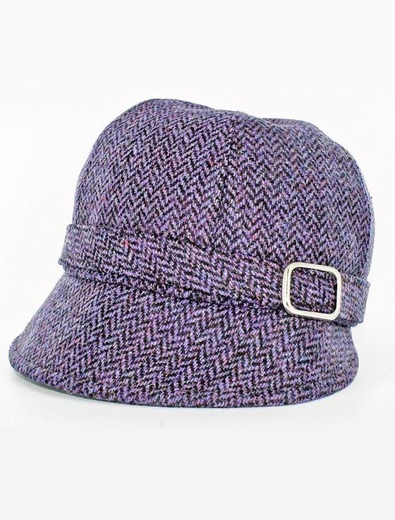 Ladies Tweed Flapper Cap - Purple