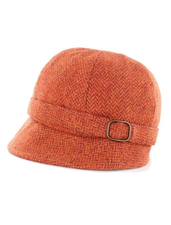 Ladies Tweed Flapper Cap - Rust