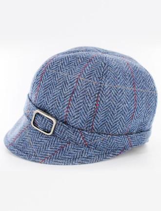 Ladies Tweed Flapper Cap - Blue with Red