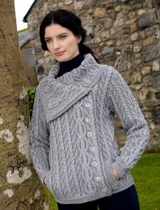 Ladies Sweaters Cable Knit Cardigan Irish Knitwear Aran Sweater