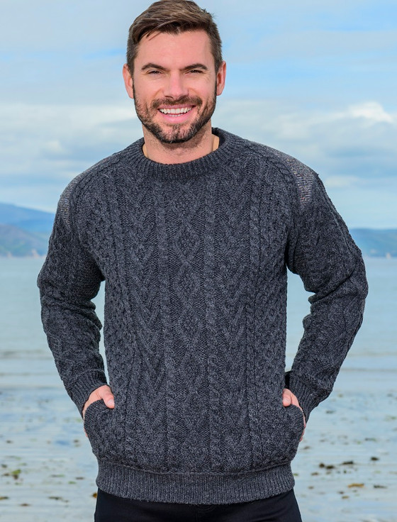 Crew Neck Aran Sweater With Tweed Patches - Charcoal