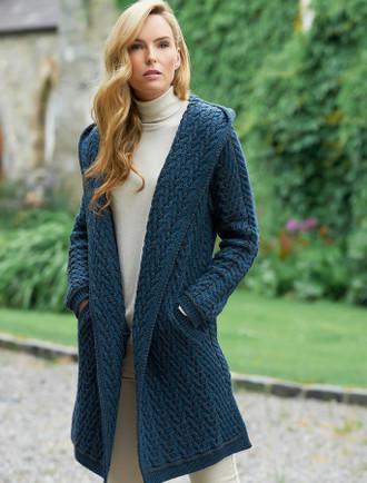 Ladies Herringbone Design Shawl Hood - Mallard
