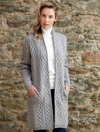 Ladies Plated Aran Cable Knit Coat - Soft Grey