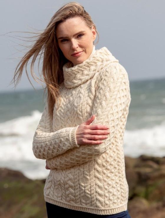 Ladies Cowl Neck Aran Sweater - Natural White