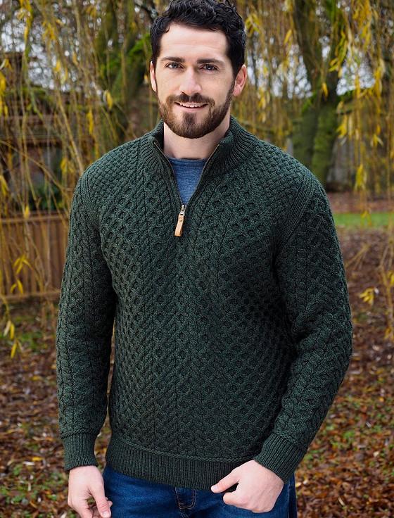 Mens Super Soft Half Zip Aran Sweater - Army Green