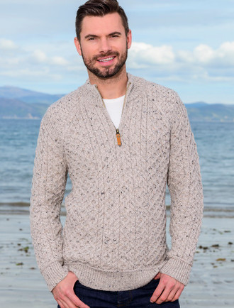 Mens Super Soft Half Zip Aran Sweater - Oatmeal