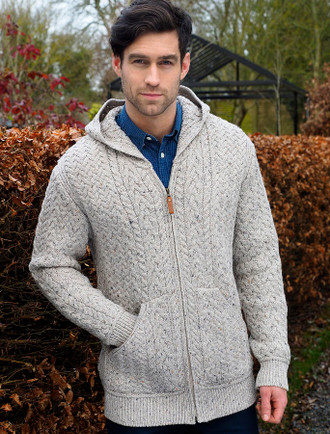 Mens Hooded Aran Cardigan - Oatmeal
