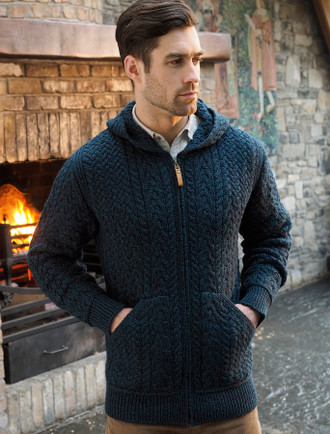 Mens Hooded Aran Cardigan - Sherwood