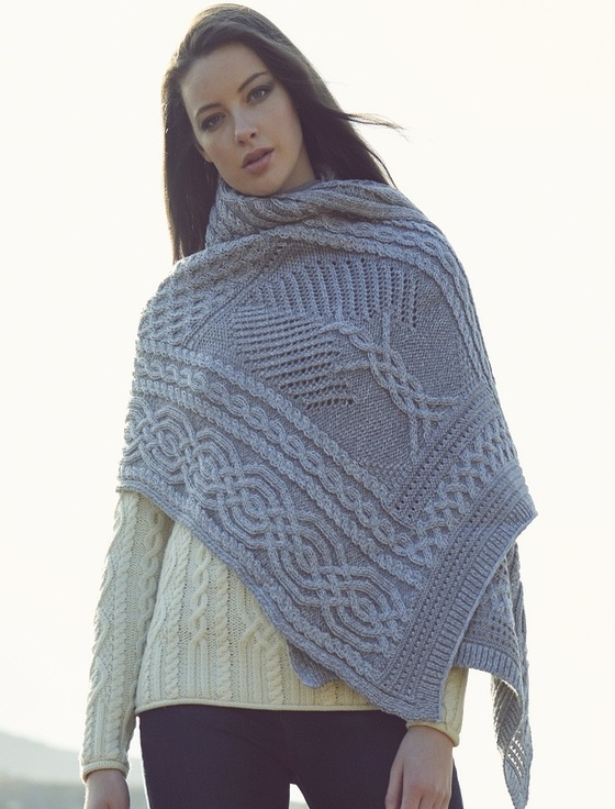 Celtic Fairy Tree Cable Knit Shawl - Soft Grey