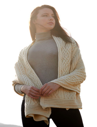 Celtic Fairy Tree Cable Knit Shawl - Natural White