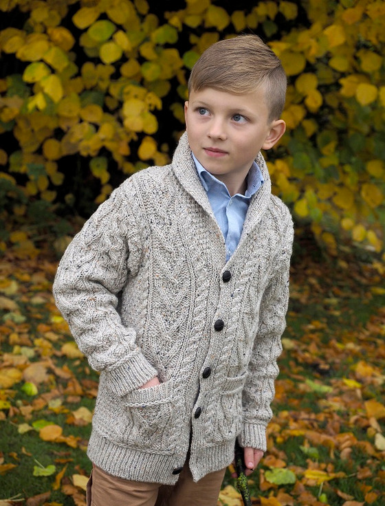 Kid's Shawl Neck Aran Cardigan - Oatmeal