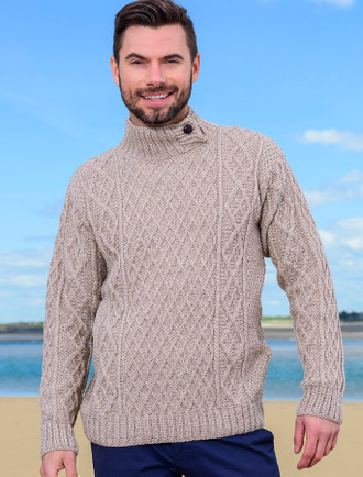 Mens Merino Aran Button Collar Sweater - Wicker