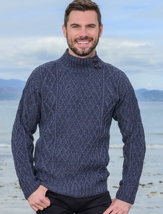 Mens Merino Aran Button Collar Sweater - Denim