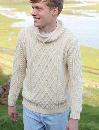 1f6be7cfa5f7 Mens Drawcord Collar Aran Sweater - Natural White ...
