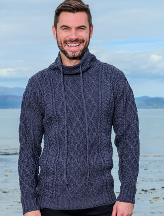 Mens Drawcord Collar Aran Sweater - Denim