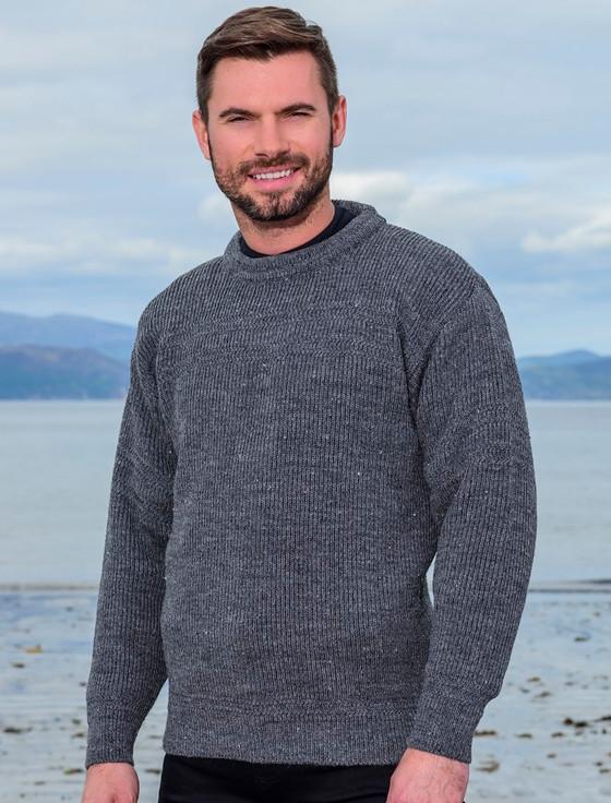 Worsted Wool Mens Hillwalker Sweater - Storm Grey