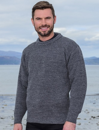 Worsted Wool Mens Hillwalker Sweater - Storm Grey