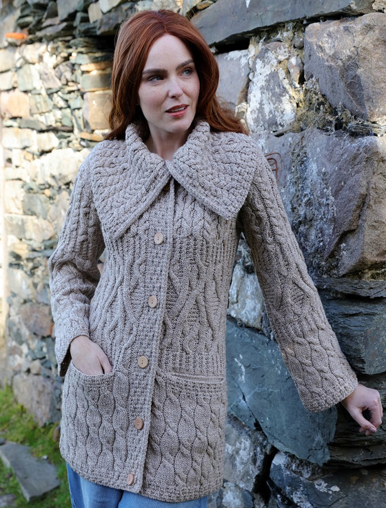 Merino Ladies Long 3 Pattern Cardigan - Wicker