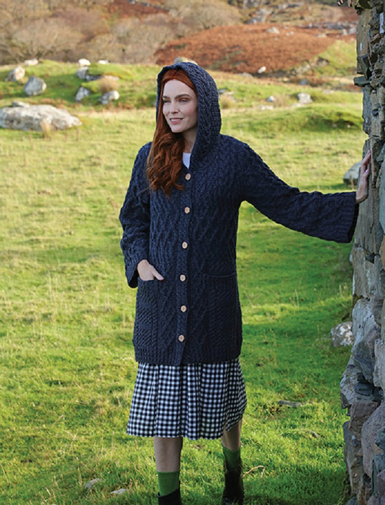 Merino Ladies Long Cardigan with Hood - Derby