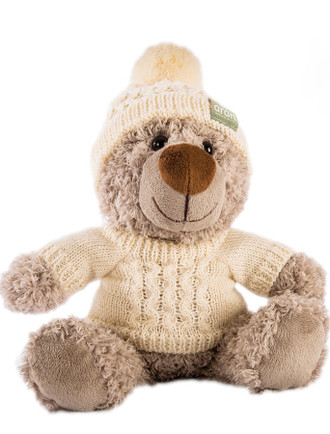 Small Teddy Bear In Aran Sweater & Bobble Hat