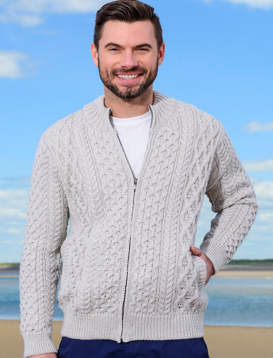 Men's Full Zip Merino Aran Cardigan - Silver Marl