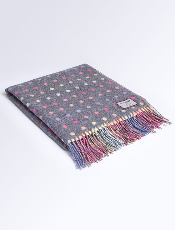 Lambswool Throw - Grey Multi Color Spot