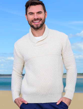 Men's Textured Shawl Collar Sweater - Natural White