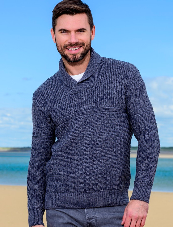 Men's Textured Shawl Collar Sweater - Steel Marl