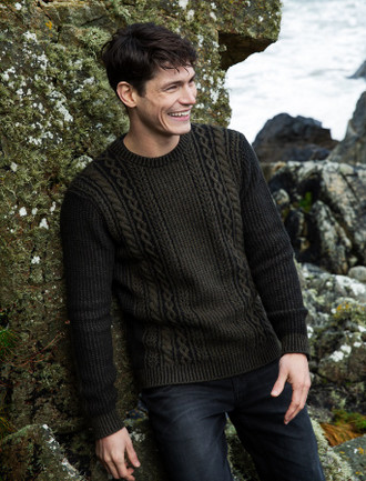 Aran Crew Neck Sweater - Tapenade