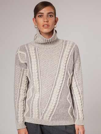 Women's Aran Plated Sweater - Sandstone