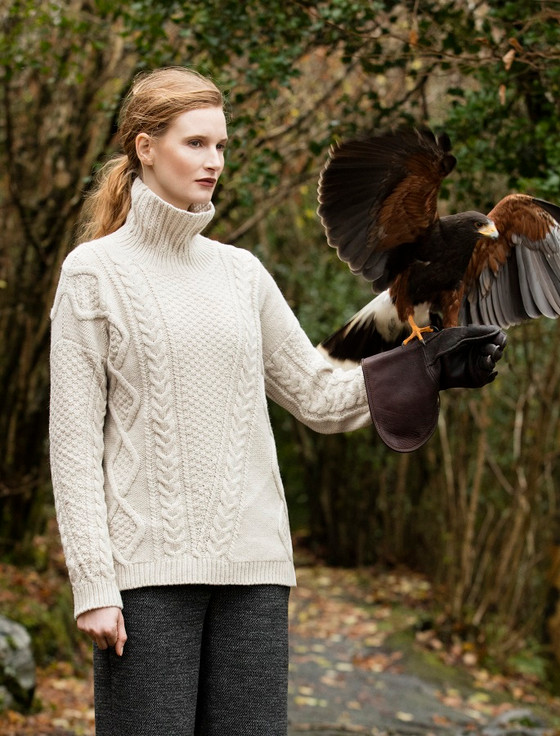 Aran V Cabled Funnel Neck Sweater - Ecru