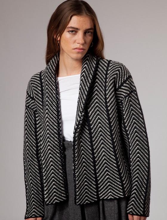 Herringbone Open Wool Cardigan - Black White