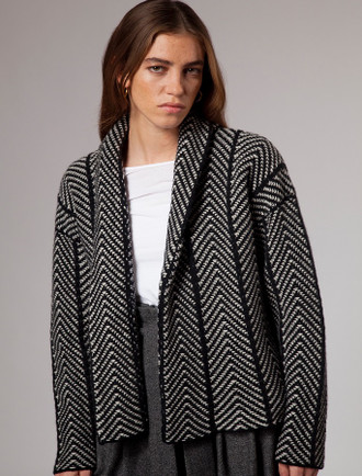 Herringbone Open Wool Cardigan - Black White
