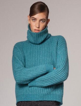 Women's Ribbed Polo Neck Wool Sweater -Turquoise