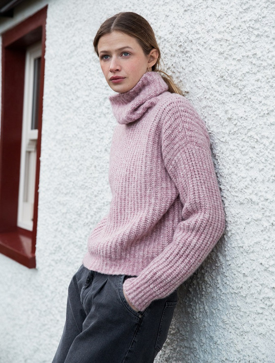 Women's Ribbed Polo Neck Wool Sweater