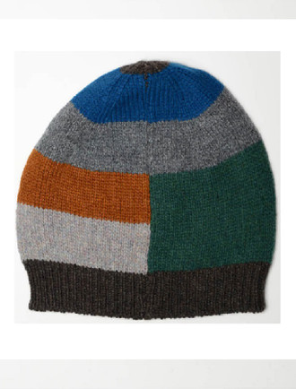 Geelong Lambswool Striped Hat - Cocoa