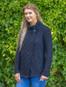 Women's Two Button Aran Cardigan - Navy