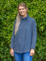 Women's Two Button Aran Cardigan - Blue Marl