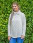 Women's Two Button Aran Cardigan  - Natural White