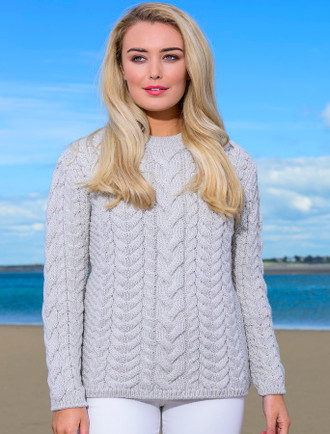 Rope Cable Crew Aran Sweater - Silver Marl