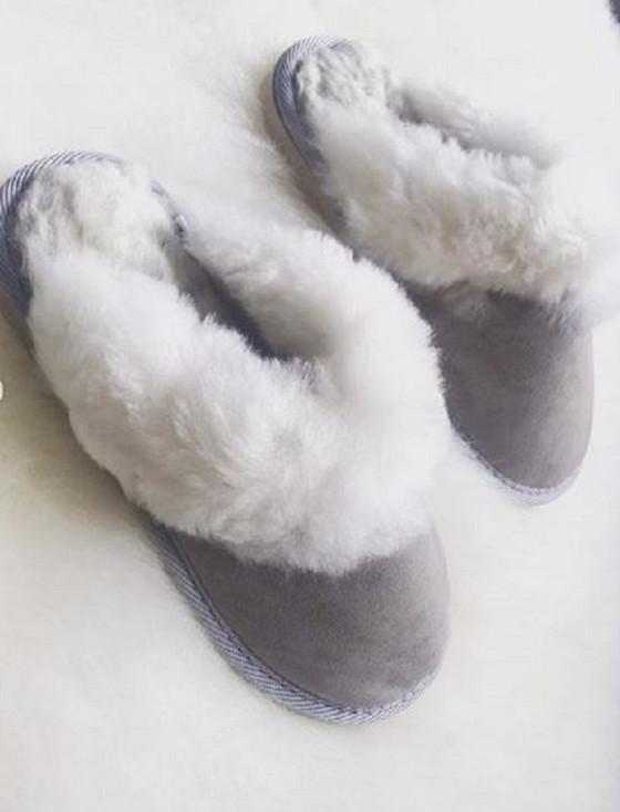 Women's Open Irish Sheepskin Slippers with Rubber Soles - Light Grey
