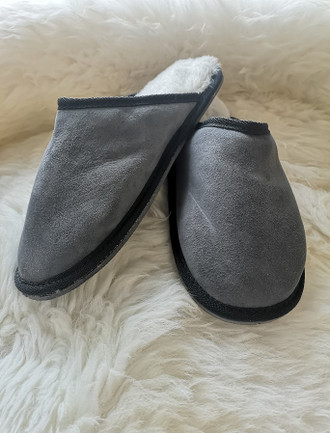 Men's Open Irish Sheepskin Slippers - Light Grey