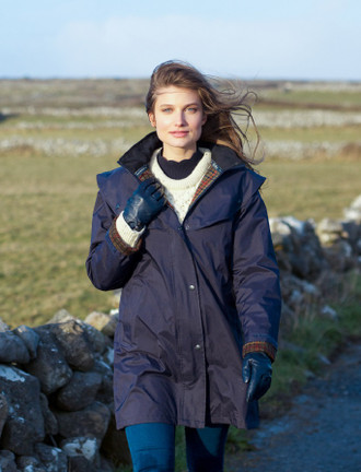 Skellig Ladies Waterproof 3/4 Coat - Navy