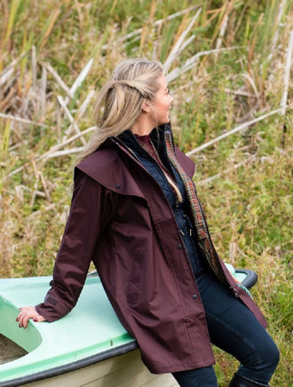 Skellig Ladies Waterproof 3/4 Coat - Deep Claret