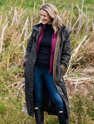 Donegal Ladies Waterproof Full Length Coat - Olive