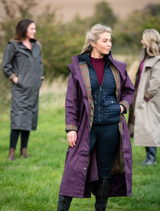 Donegal Ladies Waterproof Full Length Coat - Blackberry