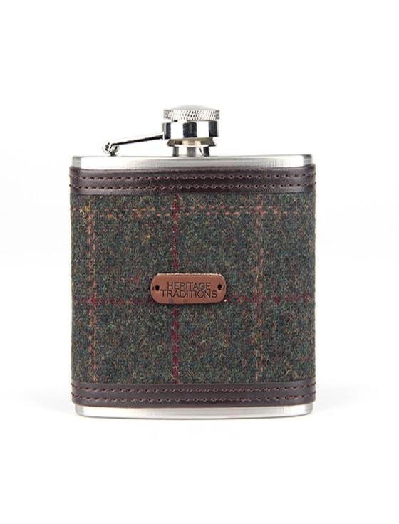 Tweed Hip Flask - Green Box Check (FL98)