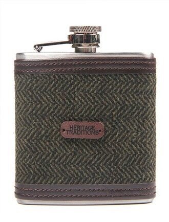 Tweed Hip Flask - Green Herringbone (FL124)