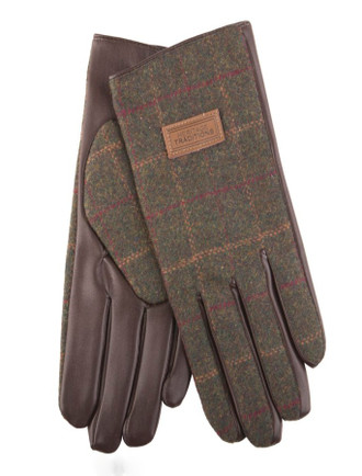 Mens Tweed Gloves - Green Box Check