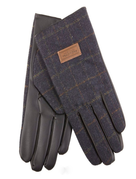 Mens Tweed Gloves - Blue Box Check